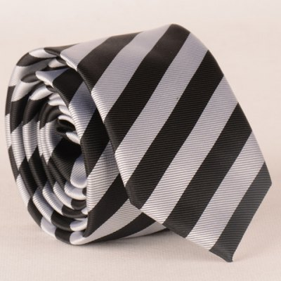 Stylish Black and White Wide Twill Pattern 6CM Width Tie For Men