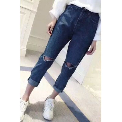 Leisure Style Low Rise Ripped Jeans