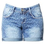 Street Style Mid Waist Printed Polka Denim Shorts For Women deal
