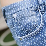Street Style Mid Waist Printed Polka Denim Shorts For Women photo