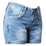 Street Style Mid Waist Printed Polka Denim Shorts For Women for sale