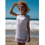 cheap Scoop Collar Sleeveless See-Through Crochet Tunic
