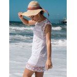 Scoop Collar Sleeveless See-Through Crochet Tunic for sale