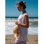 Scoop Collar Sleeveless See-Through Crochet Tunic deal