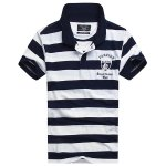 Badge and Letter Embroidered Stripe Turn-Down Collar Short Sleeve Polo T-Shirt For Men