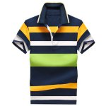 Color Block Stripe Turn-Down Collar Short Sleeve Polo T-Shirt For Men