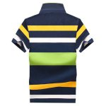 cheap Color Block Stripe Turn-Down Collar Short Sleeve Polo T-Shirt For Men