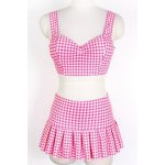 Preppy Style Sweetheart Neck Checked Two Piece Swimsuit For Women deal