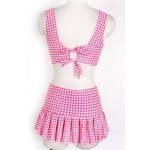 best Preppy Style Sweetheart Neck Checked Two Piece Swimsuit For Women