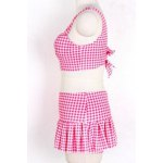 Preppy Style Sweetheart Neck Checked Two Piece Swimsuit For Women for sale