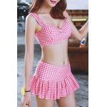 cheap Preppy Style Sweetheart Neck Checked Two Piece Swimsuit For Women