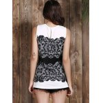 Chic Round Collar Sleeveless Lace Print Slimming Women's Tank Top for sale