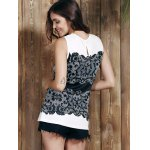 Chic Round Collar Sleeveless Lace Print Slimming Women's Tank Top deal