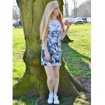 best Novelty Round Neck Gray Floral Printed Sleeveless Dress For Women
