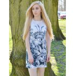 cheap Novelty Round Neck Gray Floral Printed Sleeveless Dress For Women