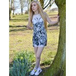 Novelty Round Neck Gray Floral Printed Sleeveless Dress For Women for sale