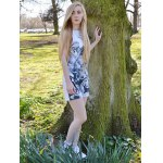 Novelty Round Neck Gray Floral Printed Sleeveless Dress For Women photo
