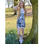 Novelty Round Neck Gray Floral Printed Sleeveless Dress For Women deal
