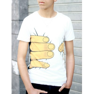 Hot Sale Personality 3D Big Hand Print Slimming Round Neck Short Sleeves Men's White T-Shirt