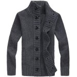Casual Turn-down Collar Solid Color Long Sleeves Cardigan For Men