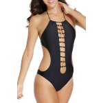 cheap Stylish Halter Hollow Out Lace-Up Women's Swimsuit