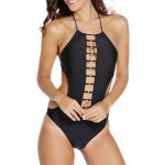 Stylish Halter Hollow Out Lace-Up Women's Swimsuit