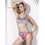 cheap Chic Print Crop Top Two Piece Swimwear For Women