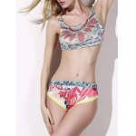 Chic Print Crop Top Two Piece Swimwear For Women