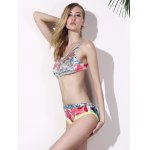 best Chic Print Crop Top Two Piece Swimwear For Women