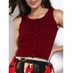 Fashionable Sleeveless Button Design Pure Color Slimming Women's Crop Top