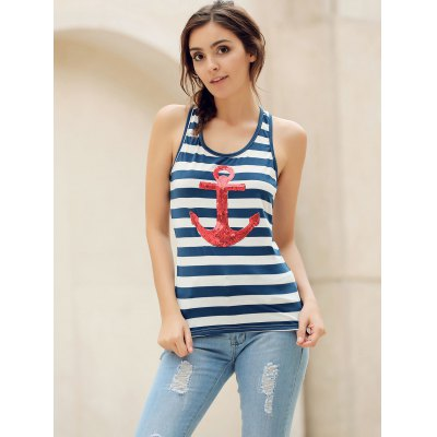 Trendy Scoop Neck Striped Sequined Anchor Tank Top For Women