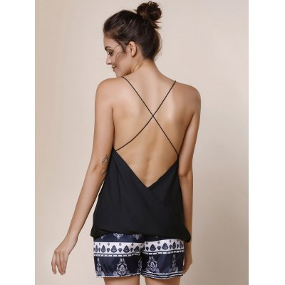 Sexy Spaghetti Strap Solid Color Criss-Cross Backless Tank Top For Women
