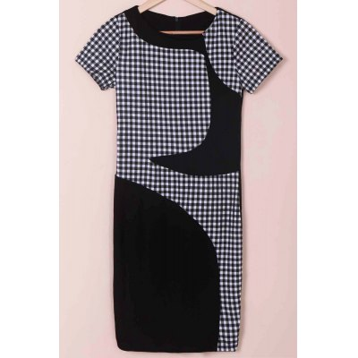 Scoop Neck Short Sleeve Plaid Bodycon Dress For Women