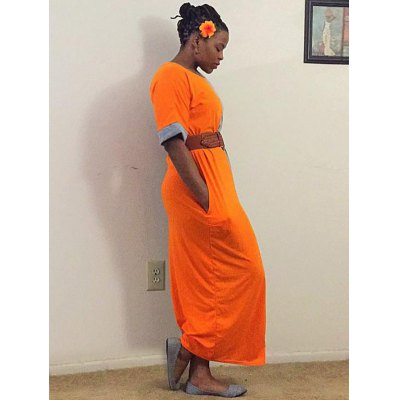 Contrast Insert Maxi Dress with Pockets
