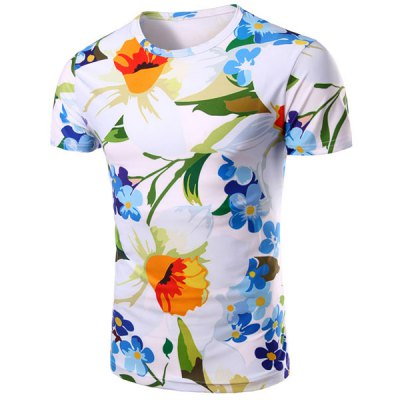 Floral 3D Print Short Sleeve T-Shirt