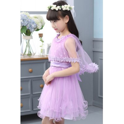 Stylish Round Neck Flower Spliced Pure Color Girls DressGirls Clothing<br>Stylish Round Neck Flower Spliced Pure Color Girls Dress<br><br>Style: Cute<br>Material: Polyester<br>Silhouette: A-Line<br>Dresses Length: Knee-Length<br>Neckline: Round Collar<br>Sleeve Length: Sleeveless<br>Embellishment: Bowknot<br>Pattern Type: Solid<br>With Belt: No<br>Season: Summer<br>Weight: 0.180kg<br>Package Contents: 1 x Dress 1 x Cape