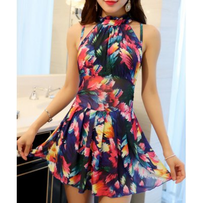 Stand Collar Floral Print Underwire Swimsuit For Women