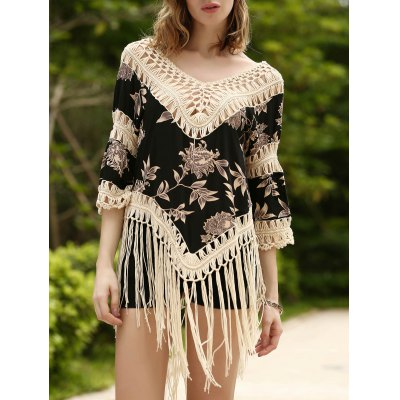 Trendy V-Neck 3/4 Sleeve Floral Print Fringed Asymmetrical Women's Cover-Up