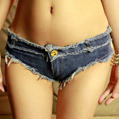 Low-Waisted Button Design Fringed Women's Denim Shorts