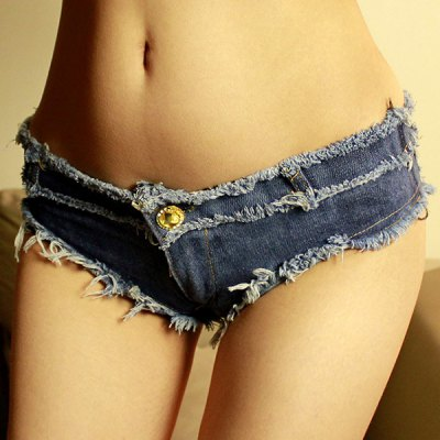 Chic Low-Waisted Button Design Fringed Women's Denim Shorts