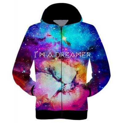 Casual Zip 3D Starry Sky Printed Hoodie For Men