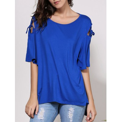 Scoop Neck Cut Out Solid Color Short Sleeve T-Shirt For Women