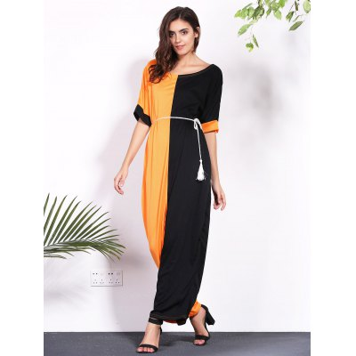 Stylish Round Neck Half Sleeve Color Block Loose Dress For Women