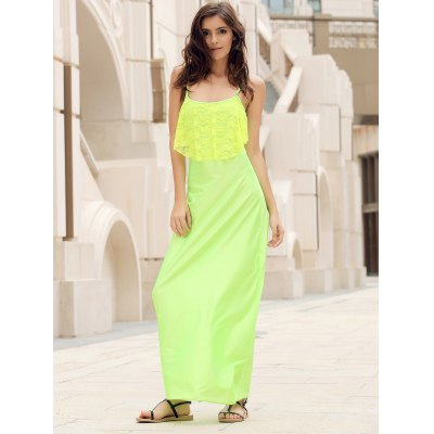 Summer Alluring Spaghetti Strap Sleeveless Spliced Solid Color Women's Dress