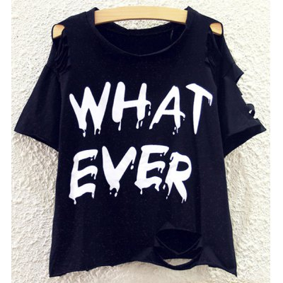 Round Neck Letter Print Batwing Sleeve T-Shirt For Women