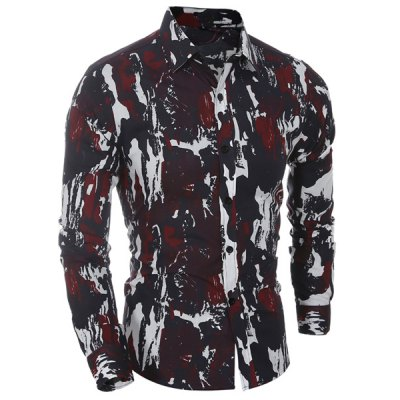 Turn Down Collar Camo Printing Shirt For Men