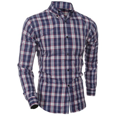 Turn Down Collar Plaid Printing Shirt For Men