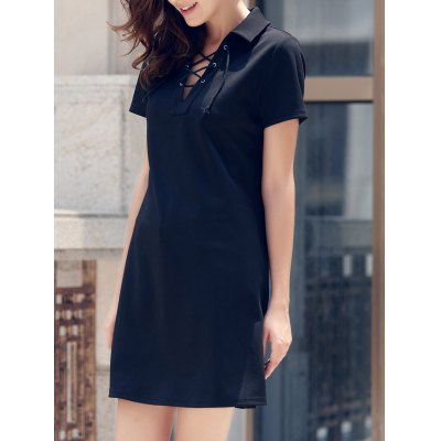 Preppy Style Lace-Up Short Sleeve Black Dress For Women