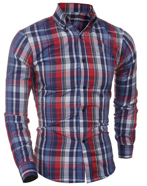 Casual Turn Down Collar Plaid Printing Shirt For Men