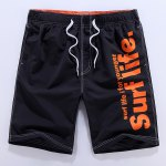 Letters Print Solid Color Lace-Up Straight Leg Shorts For Men